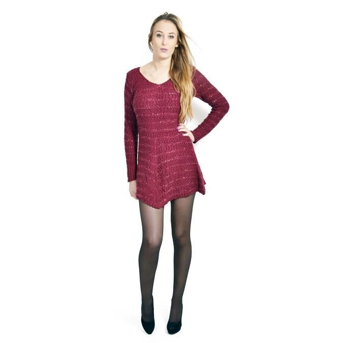 Robe tunique femme manche longue? Rouge Achat / Vente ROBE Robe