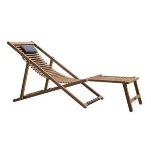 Transat sur pied achat vente transat sur pied pas cher for Chaise longue bois avec repose pied