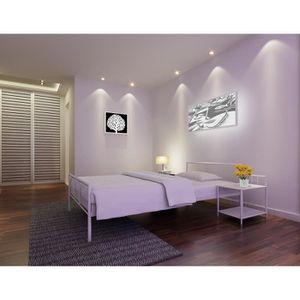 lit metal 160x200 achat vente lit metal 160x200 pas cher soldes cdiscount. Black Bedroom Furniture Sets. Home Design Ideas