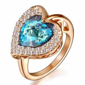 Titanic coeur bleu docéan bague anneau de mariage bijoux en plaqué ...