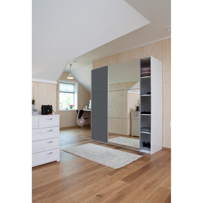 Cordoba armoire portes coulissantes avec miroir 150x60cm for Armoire chambre avec miroir