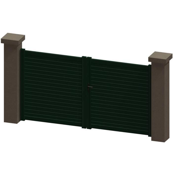 portail battant en aluminium salma vert 3m manuel autour du portail achat vente portail. Black Bedroom Furniture Sets. Home Design Ideas