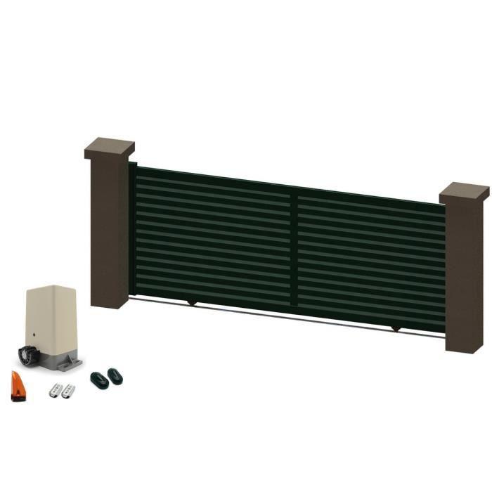 portail coulissant en aluminium indy vert 3 5m motoris autour du portail achat vente. Black Bedroom Furniture Sets. Home Design Ideas