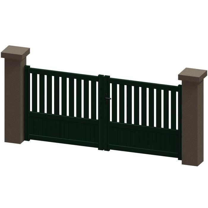 portail battant en aluminium jania vert 3m manuel autour du portail achat vente portail. Black Bedroom Furniture Sets. Home Design Ideas
