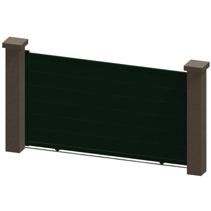 Portail coulissant en aluminium kali vert 3 5m manuel for Portail coulissant m