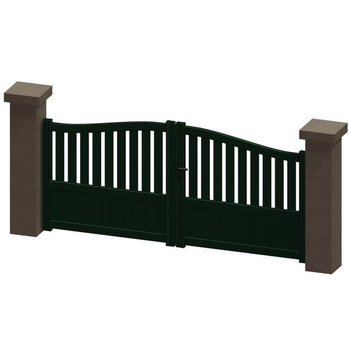 portail battant en aluminium madira vert 3m manuel autour du portail achat vente portail. Black Bedroom Furniture Sets. Home Design Ideas