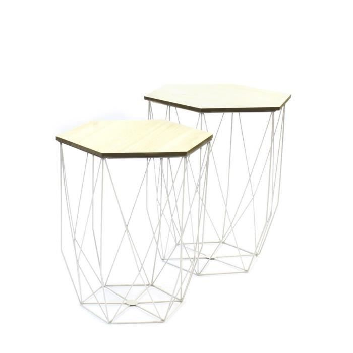 Lot de 2 tables gigognes filaire blanc achat vente for Table filaire
