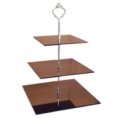 3 niveaux stand g teau carr en bronze miroir acrylique for Miroir acrylique incassable