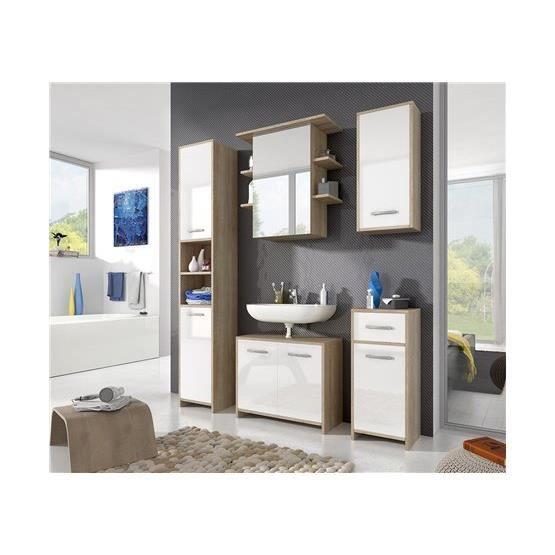 Ensemble salle de bain enin bois clair et blanc for Salle de bain bois clair et blanc