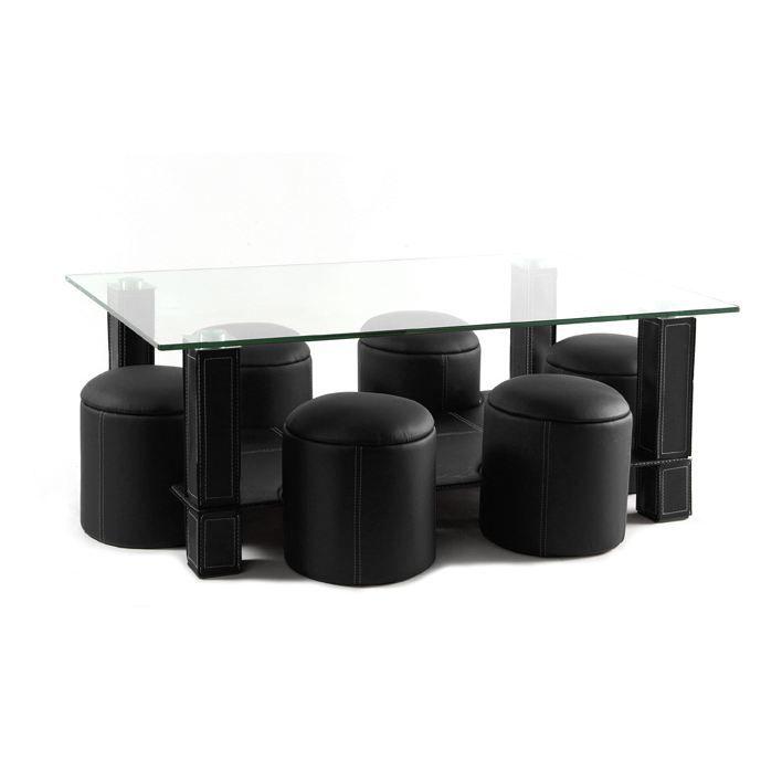 Table basse 6 poufs gamma noir achat vente table for Table verre 6 poufs