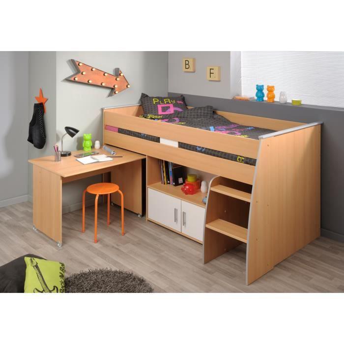lit combin enfant contemporain coloris h tre blanc spoon achat vente lit combine soldes. Black Bedroom Furniture Sets. Home Design Ideas