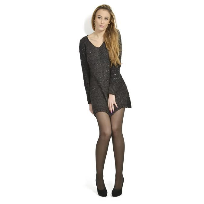 robe tunique femme manche longue noir achat vente. Black Bedroom Furniture Sets. Home Design Ideas