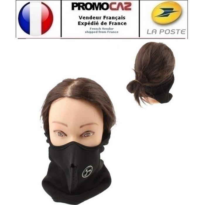 Demi-masque pour visage (Moto, Vélo, Sport) néoprène Noir