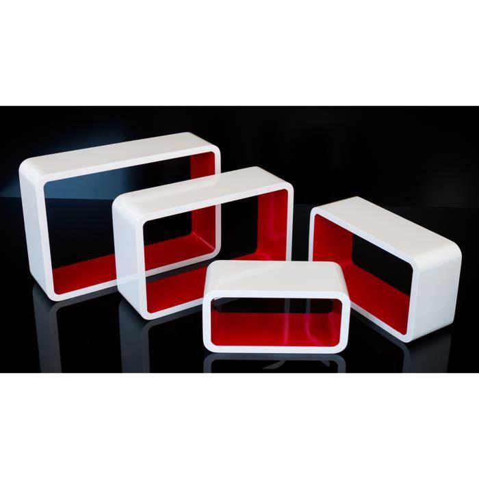 tag res cube murale de 4 pi ces rouge achat vente etag re murale tag res cube murale. Black Bedroom Furniture Sets. Home Design Ideas