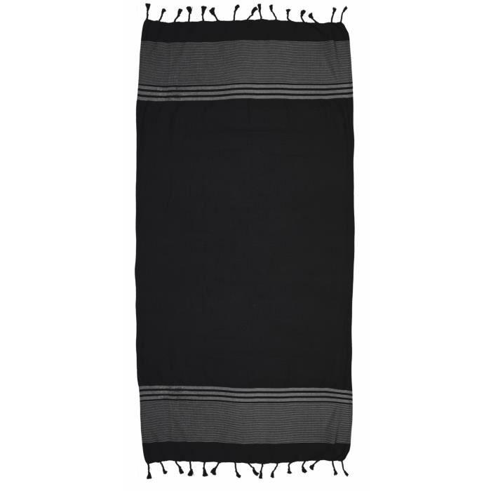 fouta nid d 39 abeille 100x200cm noir achat vente serviettes de bain cdiscount. Black Bedroom Furniture Sets. Home Design Ideas