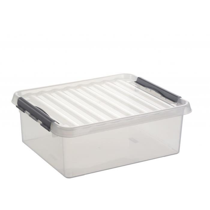 boite plastique avec couvercle 25l achat vente boite de rangement plastique cdiscount. Black Bedroom Furniture Sets. Home Design Ideas