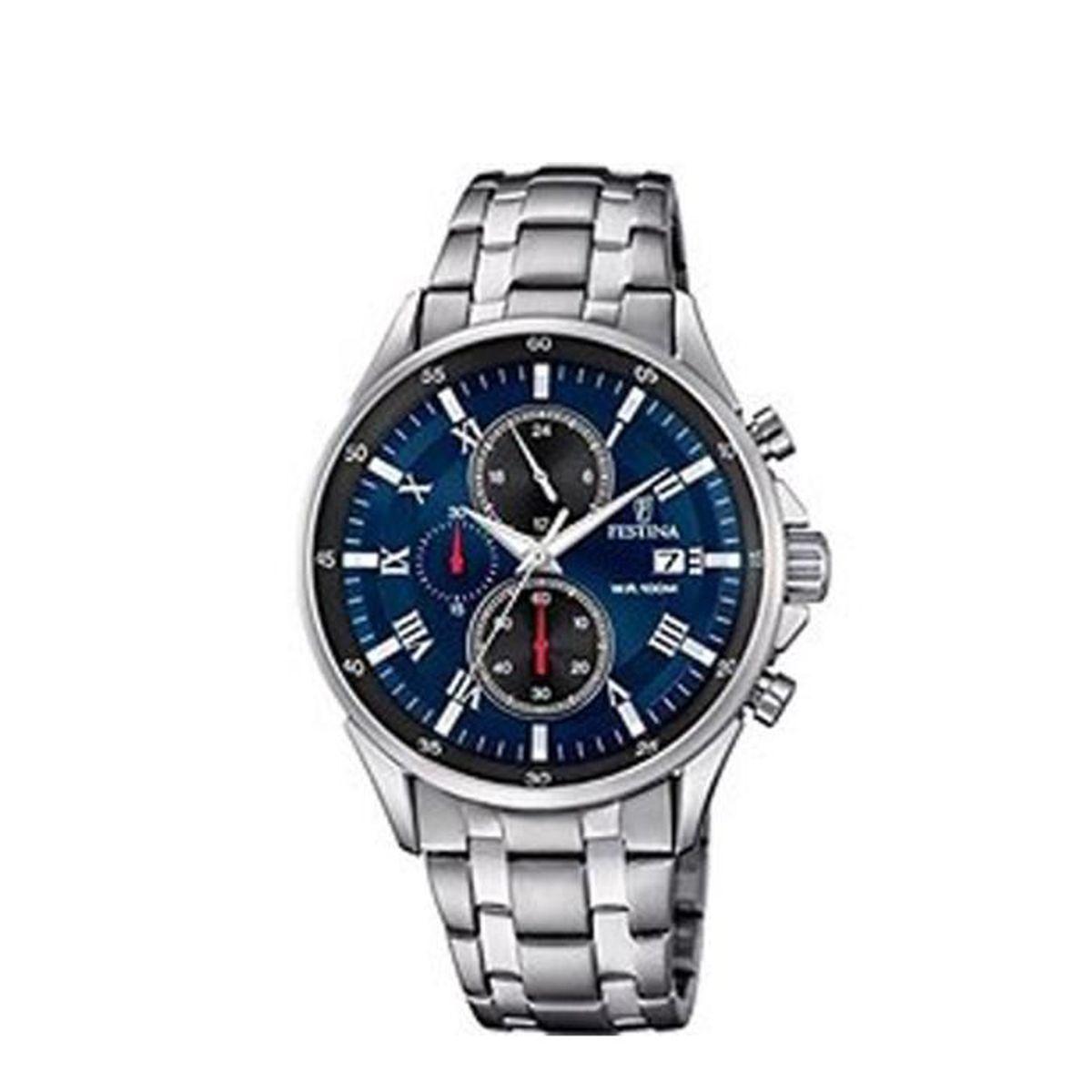 montre chronographe pour homme en acier argent festina f6853 2 4 5 cm achat vente montre. Black Bedroom Furniture Sets. Home Design Ideas