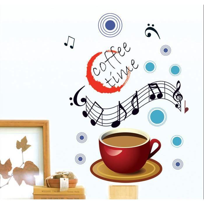 Coffee time caf et notes de musique stickers muraux for Decoration murale note de musique