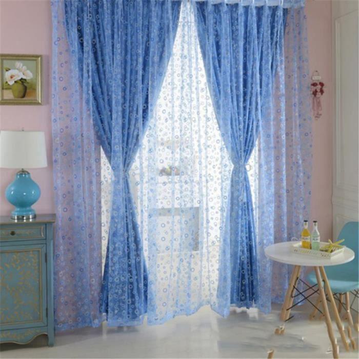rideau de fen tre en voile bleu photique avec la forme rond impression pour d coration100 200cm. Black Bedroom Furniture Sets. Home Design Ideas