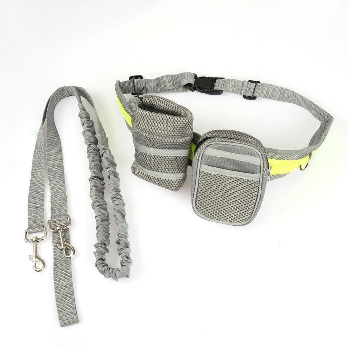 laisse mains libres pour chien et sac ceinture de sport gris achat vente harnais animal. Black Bedroom Furniture Sets. Home Design Ideas