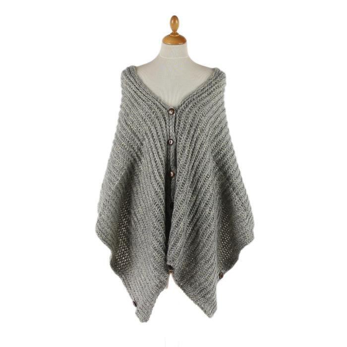poncho cape manteau pardessus femme gris clair boutons. Black Bedroom Furniture Sets. Home Design Ideas