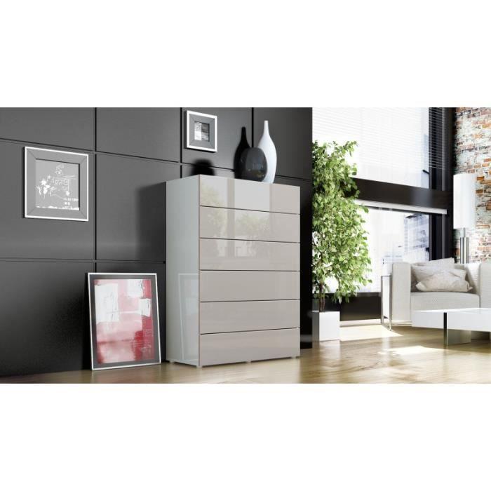 Commode design blanche et grise sabl 6 tiroirs 76 cm achat vente commode - Commode grise 6 tiroirs ...