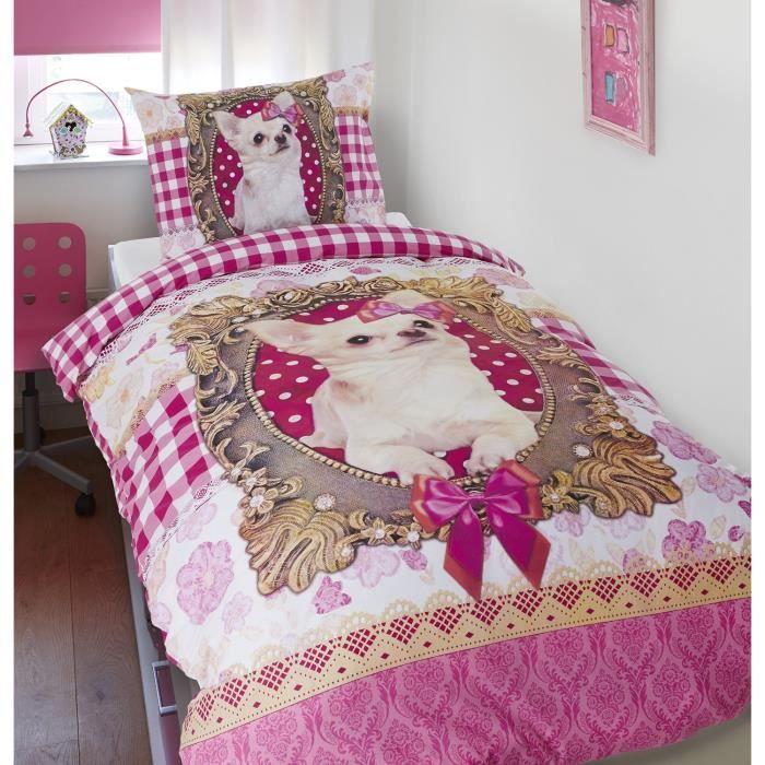 parure de lit housse de couette chihuahua chien achat vente housse de couette cdiscount. Black Bedroom Furniture Sets. Home Design Ideas