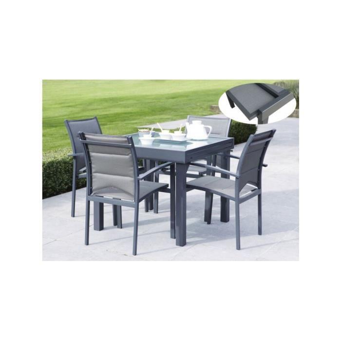 Ensemble Jardin Textil Ne Aluminium Gris Et Verre Tremp 4 Fauteuils 1 Table Carr E Allonge