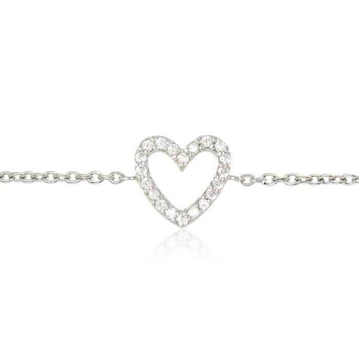 BRACELET , GOURMETTE RÊVE DE DIAMANTS Bracelet Cœur Argent 925° Femme