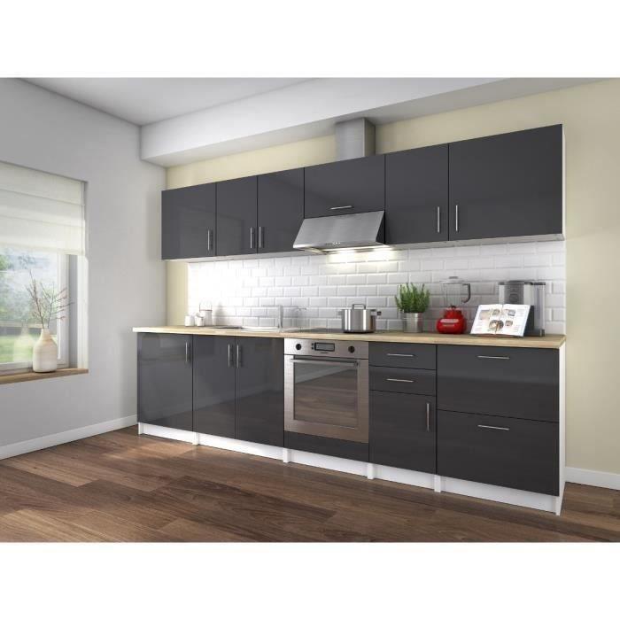 Neo cuisine compl te quip e encastrable 3m laqu gris for Cuisine complete avec electromenager