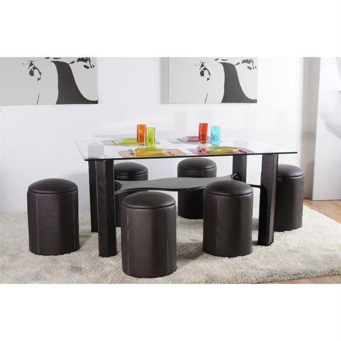 Table de repas design 6 poufs lol achat vente table for Table verre 6 poufs