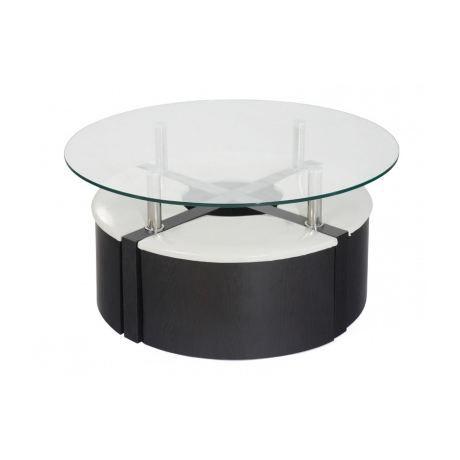 Table basse 4 poufs wengu et blanc achat vente for Table basse blanche pas cher