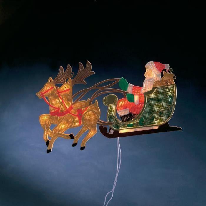 P re no l et ses rennes lumineux pour fen tre 2 achat for Decoration de fenetre gifi