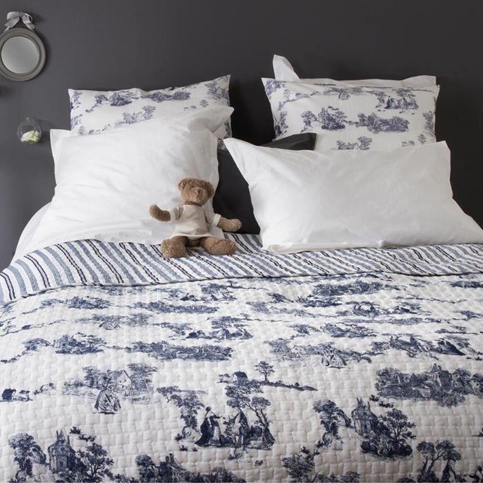 dessus de lit imprim facon toile de jouy 100 coton bleu achat vente jet e de lit. Black Bedroom Furniture Sets. Home Design Ideas