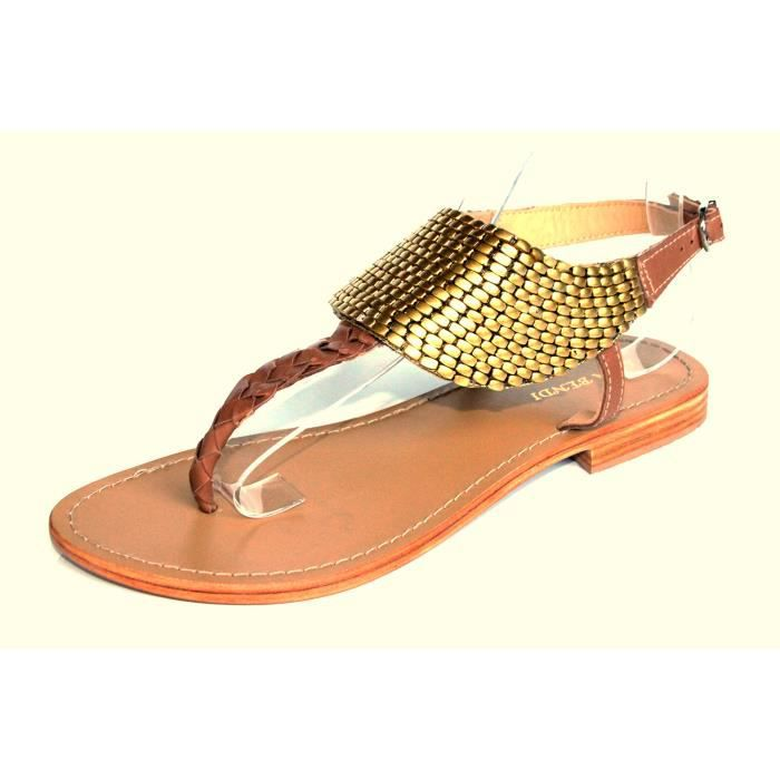 sandales plates cl o camel marron achat vente sandales plates cl o marron pas. Black Bedroom Furniture Sets. Home Design Ideas
