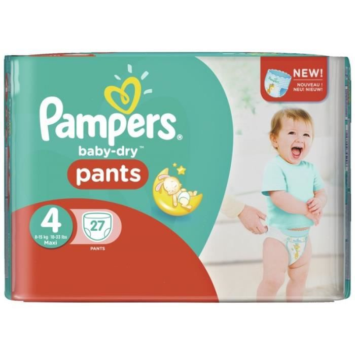 Pampers baby dry pants taille 4 maxi 8 15kg sparpack 27 couches achat vente couche - Couche pampers baby dry taille 4 ...