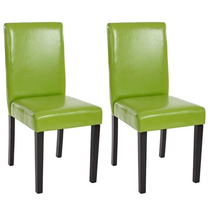 Lot de 2 chaises de salle manger fauteuil littau en similicuir coloris vert fonc achat - Chaises fauteuil salle a manger ...