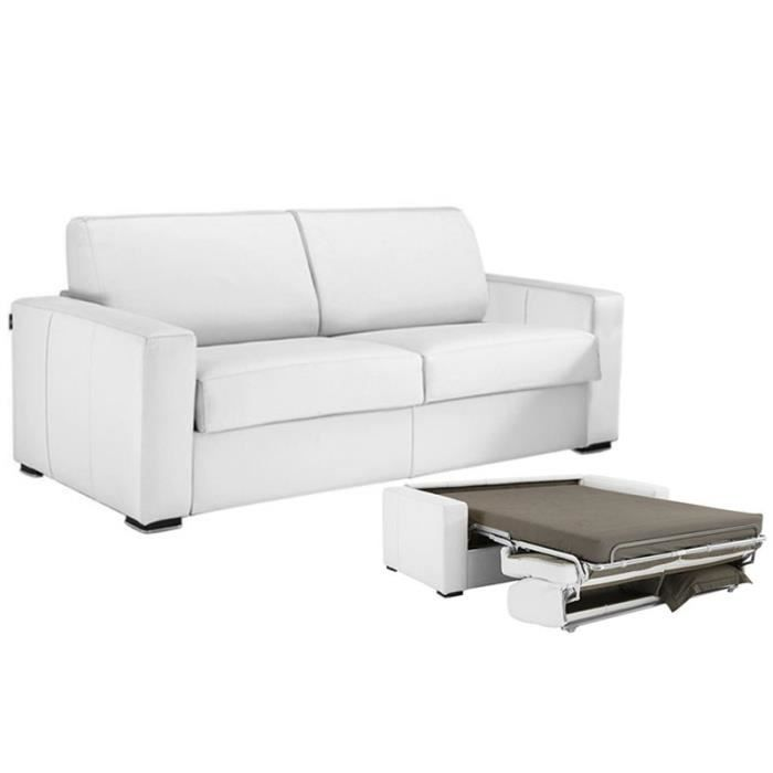 Canap Convertible Milano Cuir Recycl Blanc 160cm Achat