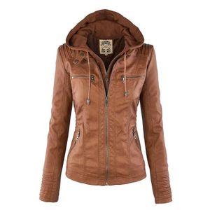 BLOUSON Femme Hooded Veste en cuir pour femmes manteaux...