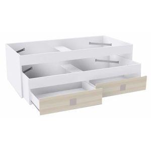 lit double avec tiroir achat vente lit double avec tiroir pas cher cdiscount. Black Bedroom Furniture Sets. Home Design Ideas
