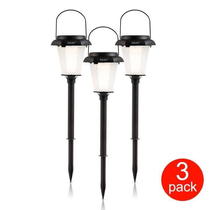 Lampe de piquet eclairage de jardin lumineuse solaire ou rechargeable lampe imperm able pour for Lampe solaire jardin brico