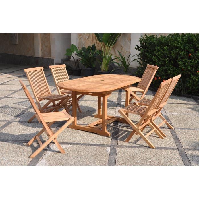 Oval kajang 6 salon de jardin 6 8 pers 6 chaises table brut achat vente salon de jardin Salon de jardin bois cdiscount