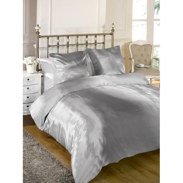 parure de lit en satin 180cm taille francaise achat vente parure de drap cdiscount. Black Bedroom Furniture Sets. Home Design Ideas
