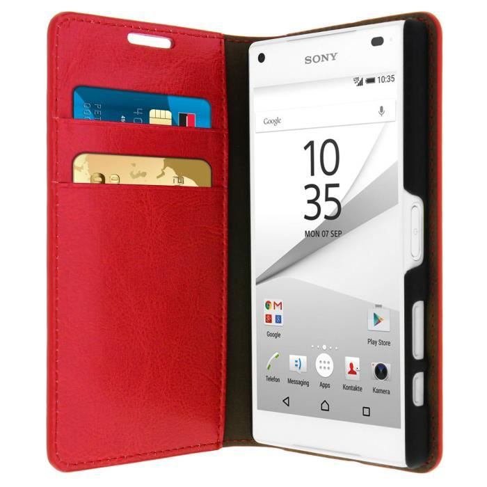 Housse etui folio cuir sony xperia z5 compact rouge for Housse xperia x compact
