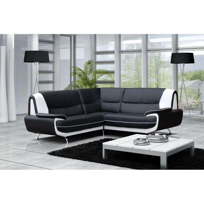 canap angle droit moderne jenna polyur thane achat vente canap sofa divan cdiscount. Black Bedroom Furniture Sets. Home Design Ideas