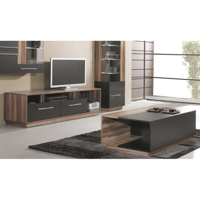 pack salon meuble tv design table basse black achat. Black Bedroom Furniture Sets. Home Design Ideas