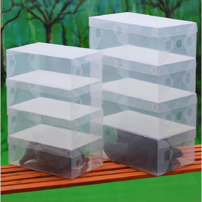 10pcs transparent chaussures en plastique transparent bo tes de rangement chaussures pliables. Black Bedroom Furniture Sets. Home Design Ideas