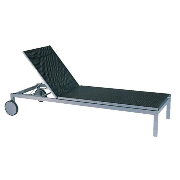Transat en aluminium et textil ne coloris anthr achat for Chaise de jardin aluminium et textilene