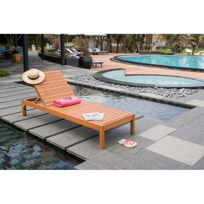 Bain de soleil en eucalyptus fsc 198x70x88 cm achat vente chaise longue - Bain de soleil eucalyptus ...