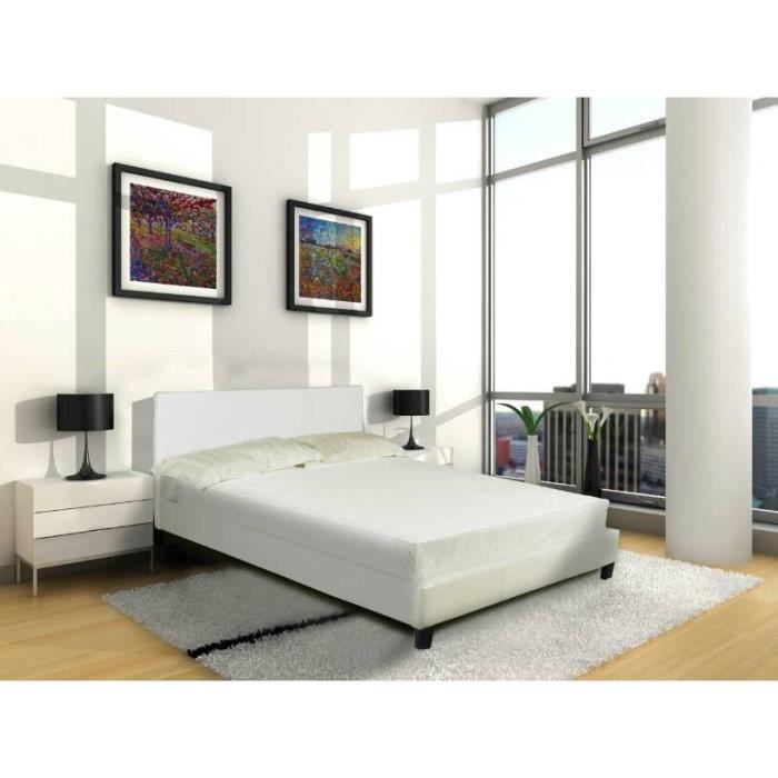 Vance lit adulte 140x190cm blanc sommier achat vente structure de lit van - Achat sommier 140x190 ...